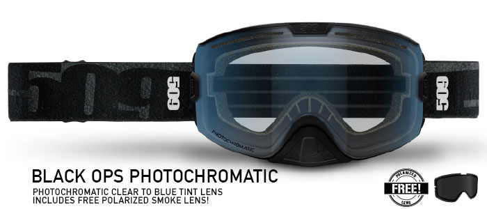 Black Ops Photochromatic (Clear to Blue) Kingpin Snow Goggle