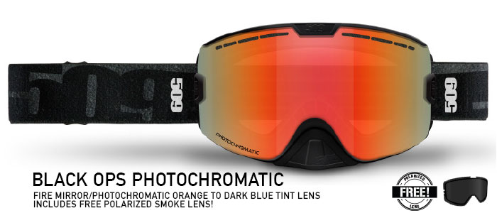 Black Ops Photochromatic (Fire Mirror/Orange to Dark Blue) Kingpin Snow Goggle