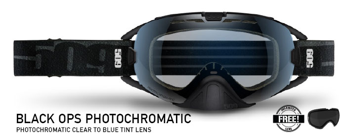 Black Ops Photochromatic (Clear to Blue) Revolver Snow Goggle