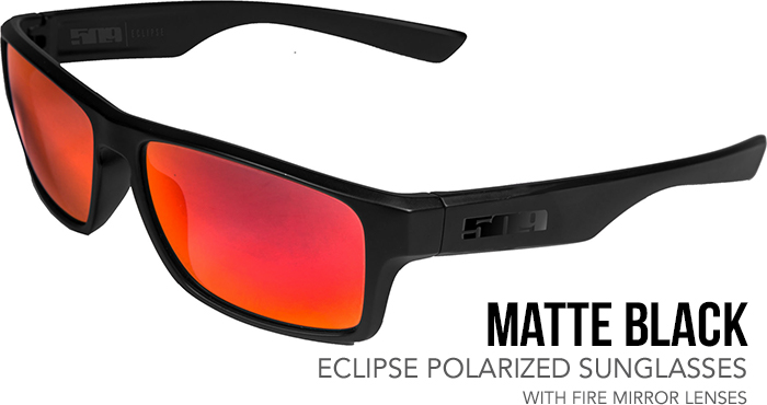 509 Matte Black Eclipse Polarized Sunglasses with Fire Mirror Lenses