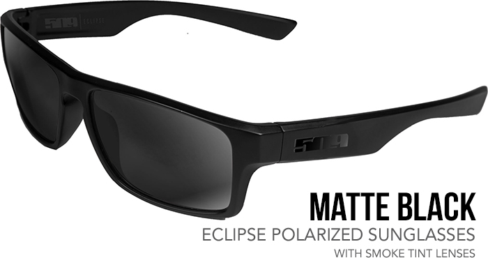 509 Matte Black Eclipse Polarized Sunglasses with Smoke Tint Lenses