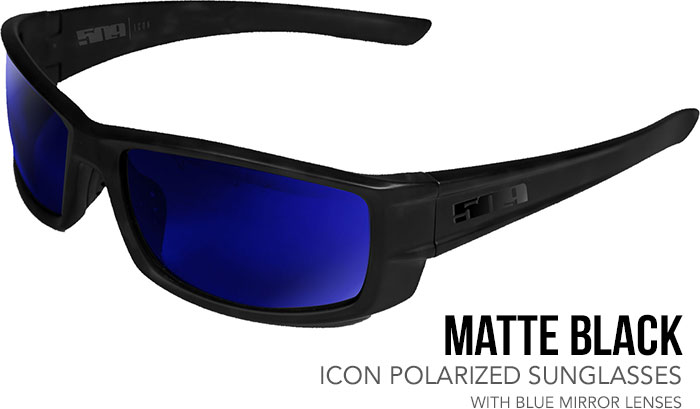 509 Matte Black Icon Polarized Sunglasses with Blue Mirror Lenses