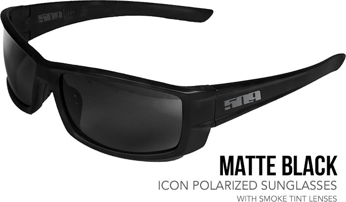 509 Matte Black Icon Polarized Sunglasses with Smoke Tint Lenses