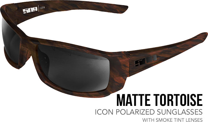509 Matte Tortoise Icon Polarized Sunglasses with Smoke Tint Lenses