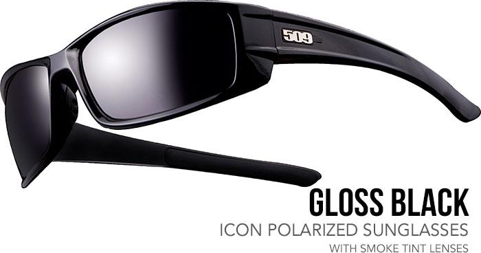 509 Gloss Black Icon Polarized Sunglasses with Smoke Tint Lenses
