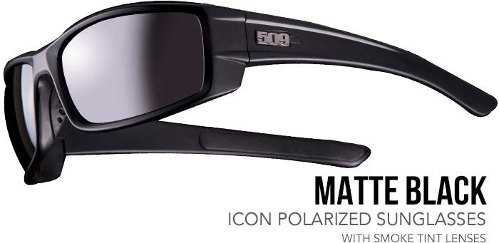 509 Matte Black Icon Polarized Sunglasses with Smoke Tint Lenses (Snow)