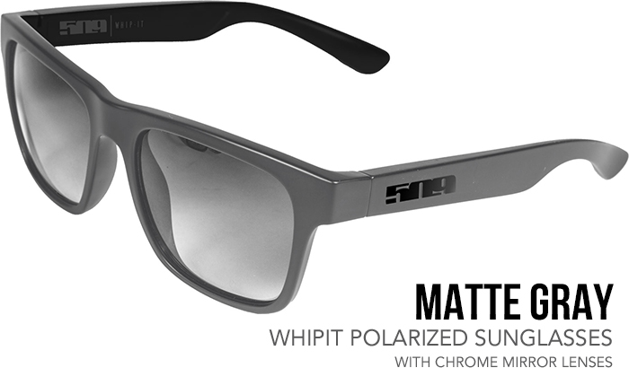 509 Matte Gray Whipit Polarized Sunglasses with Chrome Mirror Lenses
