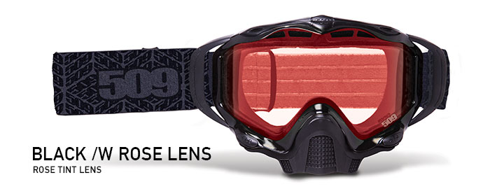 Black with Rose Tint Lens Sinister X5 Snow Goggle