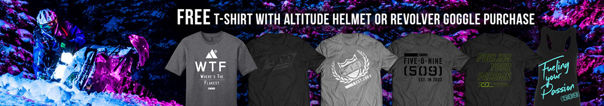 Free t-shirt with puchase of Altitude helmet or Revolver goggle!